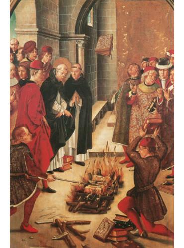 São Domingos e os Albigineses, tela de Pedro Berruguete retratando a queima de livros durante a Contrarreforma