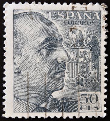 Selo com imagem do general Francisco Franco, ditador da Espanha