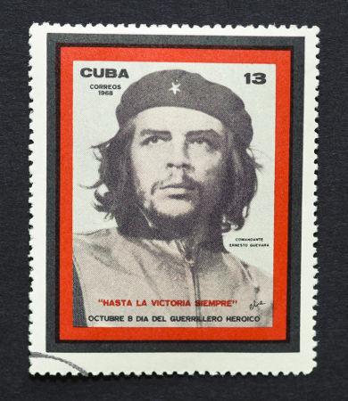 Selo cubano de 1968 com o rosto de Ernesto Che Guevara, um dos líderes do movimento *