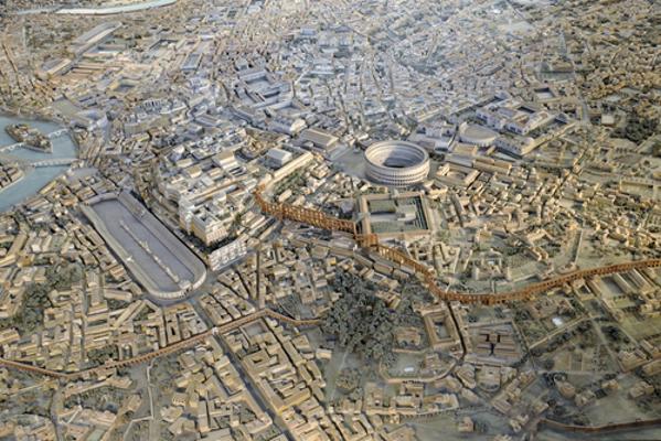 Visão panorâmica de como era a antiga Roma