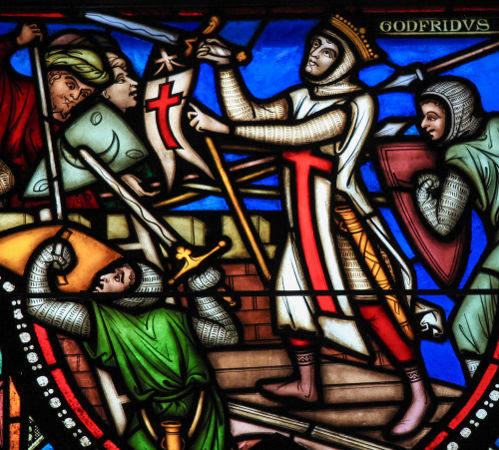 Vitral retrata o cerco a Jerusalém durante a Primeira Cruzada *