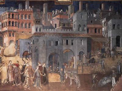 Obra de Ambrogio Lorenzetti (1285-1348) retratando uma cidade medieval.*