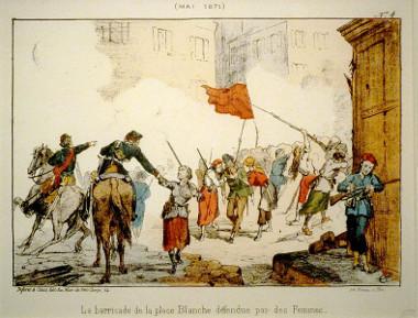 Gravura que retrata a defesa de uma barricada em Paris por mulheres participantes da Comuna