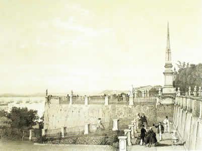 Vista do Passeio Público de Salvador no século XIX, cidade palco da Revolta da Farinha
