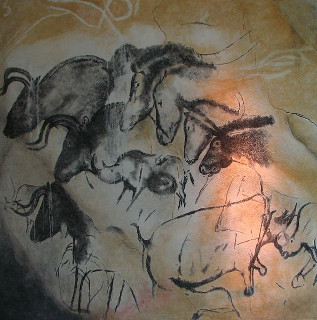 Animais pintados na caverna de Chauvet, na França. É possível perceber uma pintura em perspectiva dos animais, notadamente os cavalos