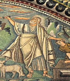 Mosaico bizantino representando o sacrifício de Isaque