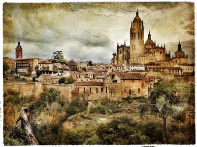 Pintura retratando Segovia, cidade medieval da Espanha