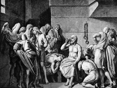 Sócrates bebendo a cicuta, em gravura publicada na História Pictográfica das Grandes Nações do Mundo