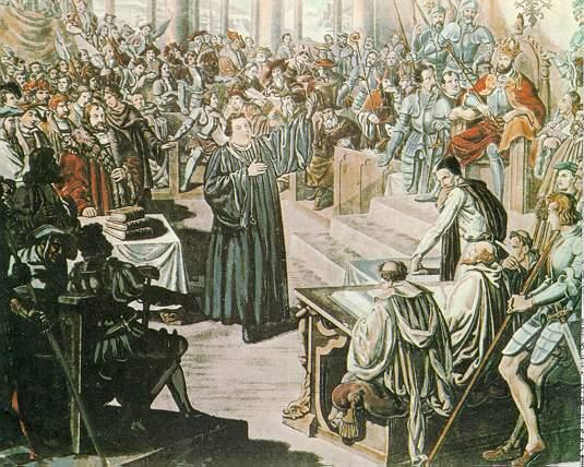 Ilustração da assembleia em Worms. No centro, Lutero; ao redor, os membros clericais e príncipes alemães e, à direita, Carlos V.